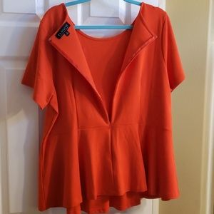 Eloquii Tops - ELOQUII Red Top with Gold Buttons